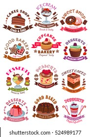 Desserts icons and signs. Sweets, cupcake and ice cream, cookie, cake, chocolate muffin and wafer, waffle with fruits and berries. Vector isolated symbols for cafe, bakery shop, patisserie.