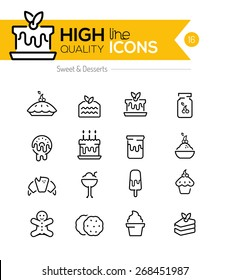 Desserts and Pastries Line Icons including: cake, donuts, cookies etc..