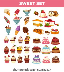 Desserts and pastry cakes vector icons set. Sweet cupcakes, pies and tortes. Chocolate ice cream and fruit muffins, tiramisu brownie and cheesecake or charlotte pudding for patisserie and bakery cafe