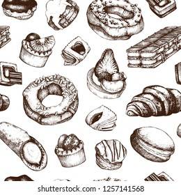Desserts Seamless pattern. Breakfast pastry and baking background. Hand drawn baked products illustration. Vintage food sketches for cafe or bakery menu design.