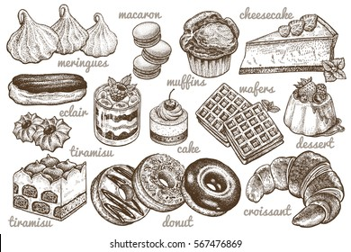 Desserts set. Vector illustration. Cakes, biscuits, baking, cookies, pastries, eclair, muffin, cheese cake, waffles, donuts, croissant, meringue hand drawing on white  background. Food vintage style.