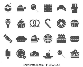 Desserts silhouette icon. Sweet muffin cakes, dessert ice cream and chocolate pie. wedding or birthday cake, pastry food muffin, donut and croissant logo. Isolated vector icons set