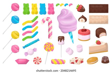 Desserts or sweets set. Cake and donut, muffin and chocolate. Junk food full of sugar. Tasty bakery. Collection of tasty food. Isolated flat vector illustration