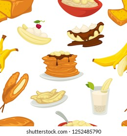 Desserts types, banana with peel and bread bakery seamless pattern vector. Cakes and chocolate topping, pancakes and bowl with cereals. Sweet dumplings, baked food with cherry berry isolated meal