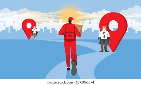 Destination of delivery man from express service company carry parcel box and run on pathway direction aim to target. Client use smartphone for track order online shopping and standby wait for goods.