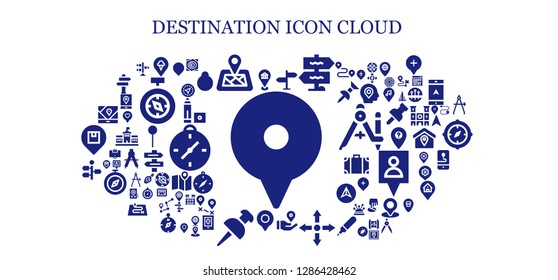 destination icon set. 93 filled destination icons. Simple modern icons about  - Location, Pin, Location pin, Signpost, Directions, Gps, Maps, Marker, Compass, Berlin, Area, Direction sign
