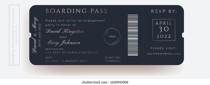 Destination Wedding Classic Blue Passport Invitation Vector Set.Boarding Pass ticket template.Modern luxury design.