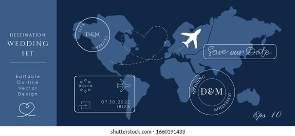 Destination Wedding Passport Invitation Vector Set.Visa stamps pass template.World map atlas.Modern luxury design.