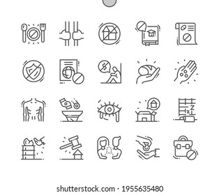 Destitution. Home deprivation. Mendicancy. Begging and beggars. Homeless, poverty, unemployed and hopeless. Pixel Perfect Vector Thin Line Icons. Simple Minimal Pictogram