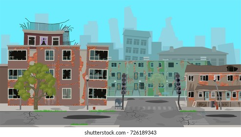 Destroyed, abandoned city. Vector illustration, a flat style design.