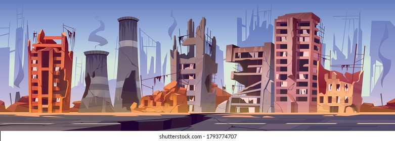 Destroyed buildings on city street after war or natural disaster. Vector cartoon illustration of abandoned broken houses with smoke and cracked road. Derelict town ruins after explosion or earthquake
