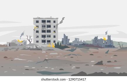 Destroyed city concept landscape background illustration, building between the ruins and concrete, war destruction panorama, city quarter after earthquake