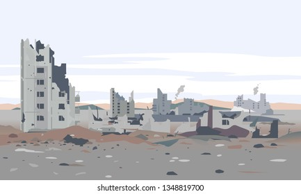 Destroyed city concept landscape background illustration, building between the ruins and concrete, war destruction panorama, city quarter after earthquake