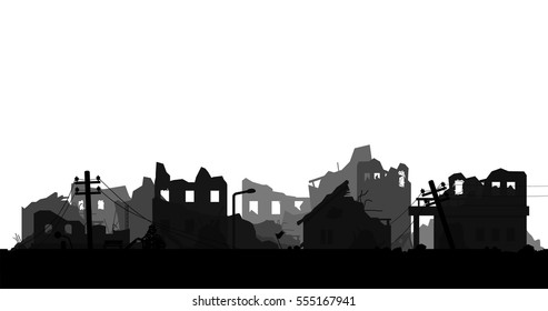 destroyed city isolated on white background silhouette vector