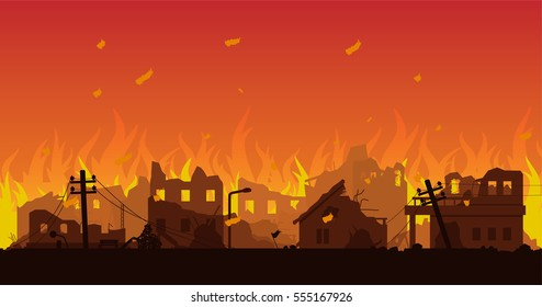 Destroyed City on Fire vector