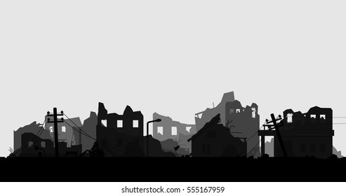 destroyed city silhouette vector