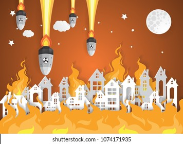 Destroyed City Village with fire.Nuclear war - atom bombs falling,paper art style