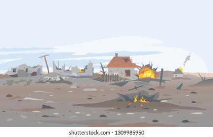 Destroyed village concept landscape background illustration, building between the ruins and concrete, war destruction panorama