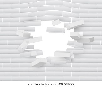 Destruction of a Brick Wall. 3D Breaking Brick Wall. Wall Being Smashed or Breaking Apart. Destruction Abstract Background. Vector.