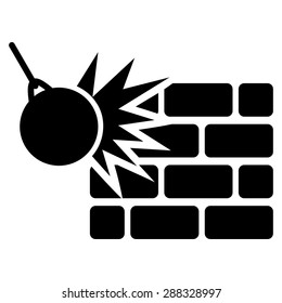 Destruction icon from Business Bicolor Set. Vector style: flat symbols, black color, rounded angles, white background.