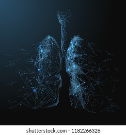 Destructive lungs with broken contour. Low poly blue. Polygonal abstract health illustration. In the form of a starry sky or space. Vector image in RGB Color mode.