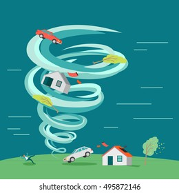 Destructive tornado vector concept. Flat design. Huge vortex lifted into the air house, car and trees, knocked down man and destroyed building. Natural disaster illustration for insurance company ad