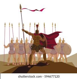Detachment of Roman legionaries. Vector illustration