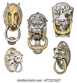 Detail ancient building. architectural ornamental elements, wooden door knob, knocker or handles. lion and horse. engraved hand drawn in old sketch, vintage and Antique, baroque or gothic style.