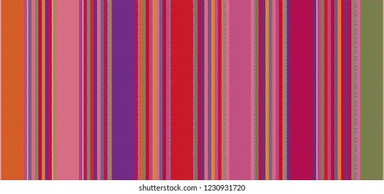 detail background with mexican color. mexican rug pattern. serape stripes vector