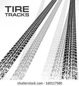 Detail black tire tracks on white & text, vector illustration