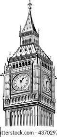 detail Elizabeth Tower, Big Ben (Clock Tower) London vintage illustration,  hand drawn