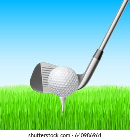 Detail of a Golf Club and Ball with Green Meadow for Desgin