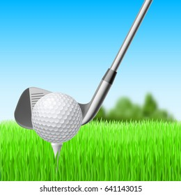 Detail of a Golf Club and Ball with Green Meadow