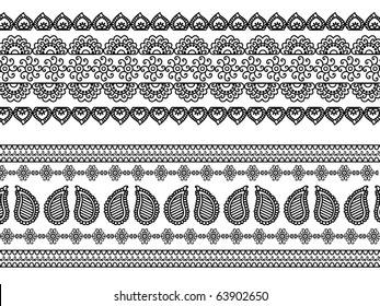 Detail Henna art Inspired Border designs