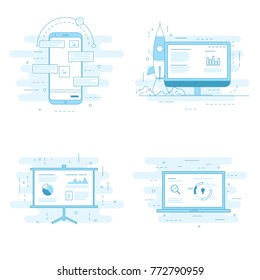 Detail Icons Line Art Infographic Data Smartphone Startup Presentation