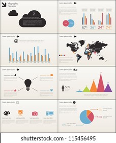Detail infographic set vector illustration. World Map and Information Graphics Presentation