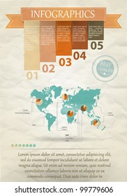 Detail infographic vector illustration. Map of the world and Information Graphics. Easy to edit countries