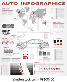 Detail infographic vector illustration. World Map and Information Graphics Summary info about the cars