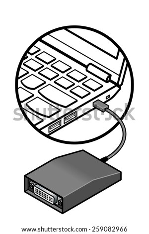 Detail Laptop Showing Dvi Adapter Connected Stock Vector Royalty