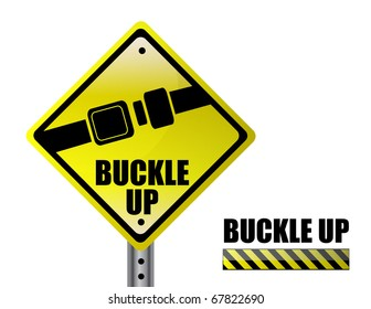 Detail metal buckle up street sign isolated over a white background