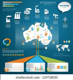 Detail modern infographic vector illustration with Map of Australia, industrial infographics and Information Graphics. Easy to edit states. Paper style