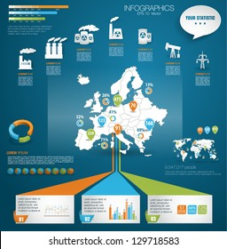 Detail modern infographic vector illustration with Map of Europe, industrial infographics and Information Graphics. Easy to edit states. Paper style