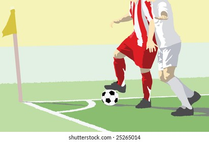 Detail of a soccer duel near the corner flag.