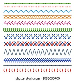 Detail stitched seamless patterns. Color sewing seams. Embroidery cloth edge vector texture. Illustration of colored thread stitch, embellishment stitched pattern