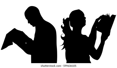 detail vector silhouette of reading man and woman