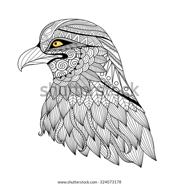 Detail Zentangle Eagle Coloring Page Tattoo Stock ...