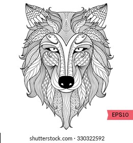 Detail zentangle wolf for coloring page,tattoo, t shirt design effect and logo