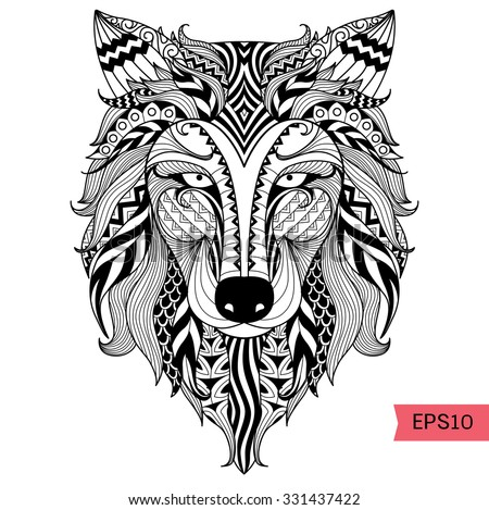 Detail Zentangle Wolf Coloring Pagetattoo T Stock Vector Royalty