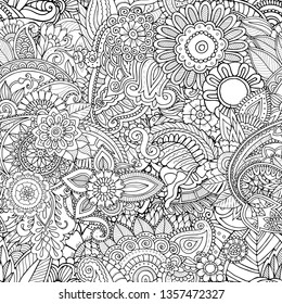 Detailed abstract zentangle seamless pattern