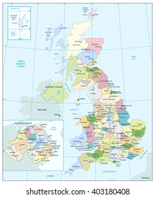 Detailed administrative map of the Great Britain. All elements are separated in editable layers clearly labeled.